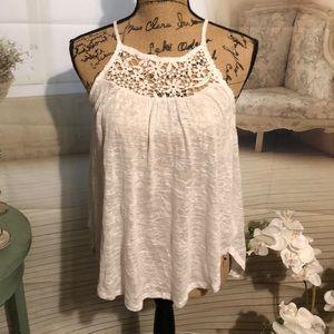 Aeropostale sleeveless sheer lace blouse